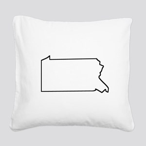 Pennsylvania Outline Square Canvas Pillow