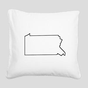 Pennsylvania Outline Square Canvas Pillow