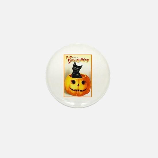 Jackolantern Black Cat Mini Button