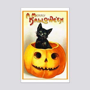 Jackolantern Black Cat Mini Poster Print