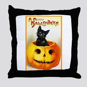 Jackolantern Black Cat Throw Pillow