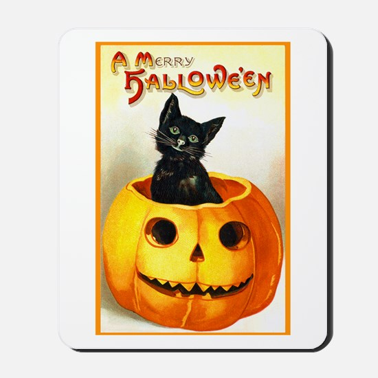 Jackolantern Black Cat Mousepad