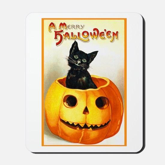 Jackolantern Black Cat Mousepad