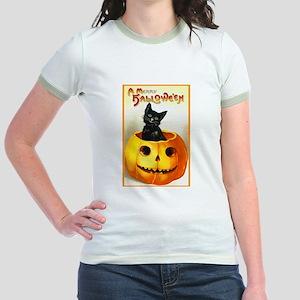 Jackolantern Black Cat (Front) Jr. Ringer T-Shirt