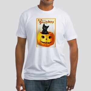 Jackolantern Black Cat (Front) Fitted T-Shirt
