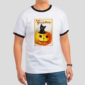 Jackolantern Black Cat (Front) Ringer T