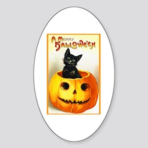 Jackolantern Black Cat Oval Sticker