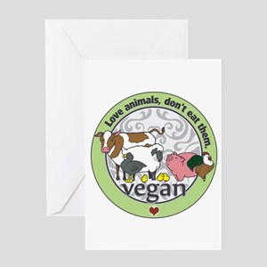 Love Animals Dont Eat Them Vegan Greeting Card