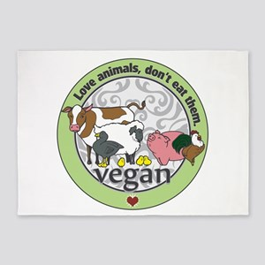 Love Animals Dont Eat Them Vegan 5'x7'Area Rug