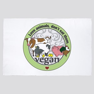 Love Animals Dont Eat Them Vegan 4' x 6' Rug