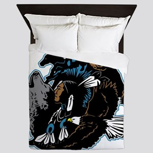 Native American Indian and Wildlife Queen Duvet