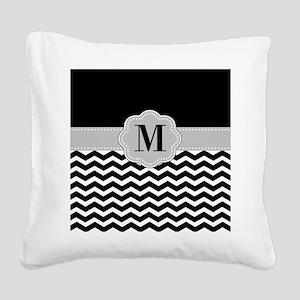 Black Gray Chevron Monogram Square Canvas Pillow