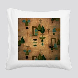Atomic Age in Gold Square Canvas Pillow