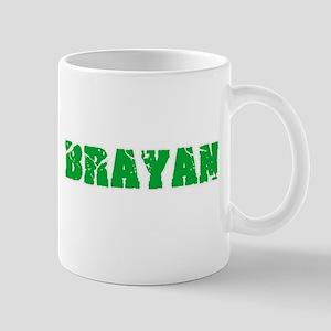 Brayan Name Weathered Green Design Mugs