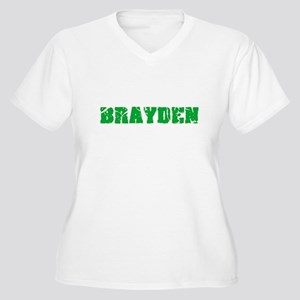 Brayden Name Weathered Green Des Plus Size T-Shirt