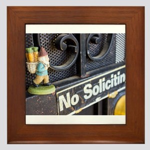 No Soliciting Gnome Framed Tile