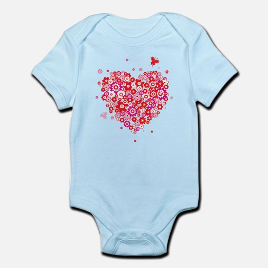 Valentines Day Flowers Body Suit