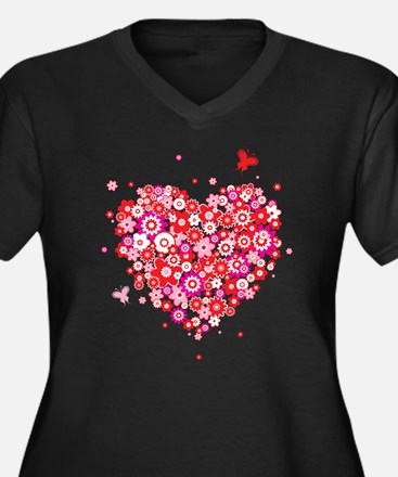 Valentines Day Flowers Plus Size T-Shirt