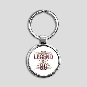 Men's Funny 80th Birthday Round Keychain