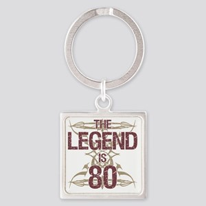 Men's Funny 80th Birthday Square Keychain