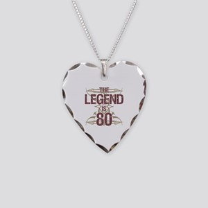 Men's Funny 80th Birthday Necklace Heart Charm