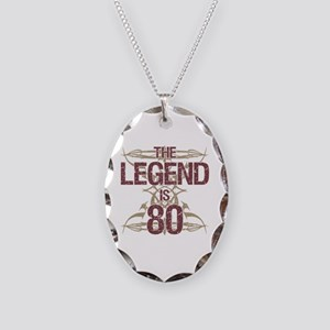 Men's Funny 80th Birthday Necklace Oval Charm
