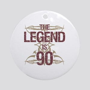 Men's Funny 90th Birthday Round Ornament