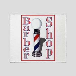 Barber Shop-Red Throw Blanket
