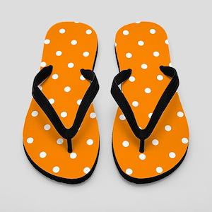 Orange: Polka Dots Pattern (Small) Flip Flops