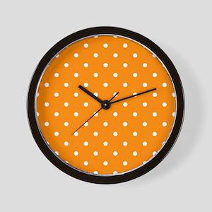 Orange: Polka Dots Pattern (Small) Wall Clock