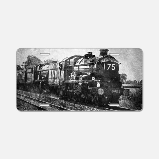rustic vintage steam train Aluminum License Plate