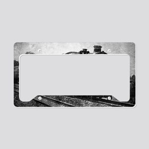 rustic vintage steam train License Plate Holder