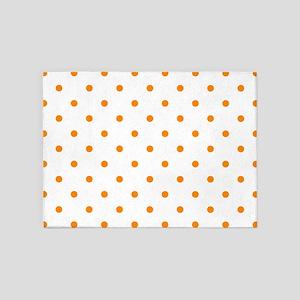 Orange: Polka Dots Pattern (Small) 5'x7'Area Rug
