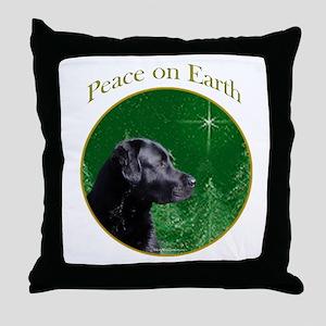 Black Lab Peace Throw Pillow