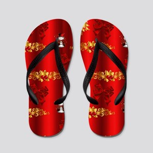 Red and Gold Christmas Decorations Flip Flops