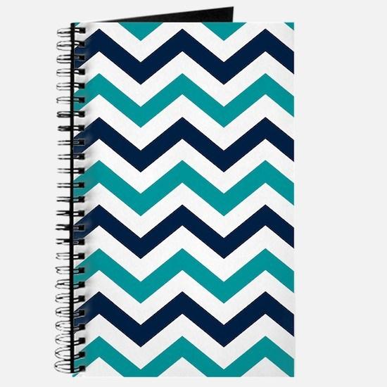 Teal, White & Navy Blue Chevron Pattern Journal