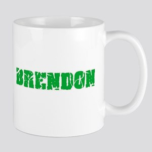 Brendon Name Weathered Green Design Mugs