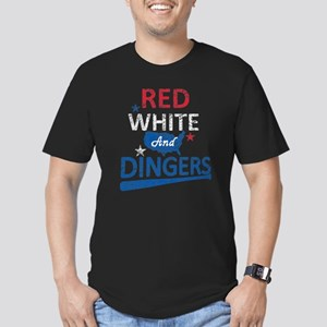 Red White and Dingers Men's Fitted T-Shirt (dark)