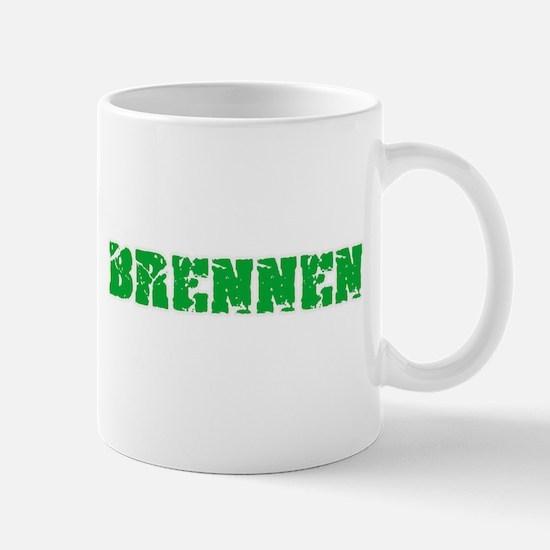Brennen Name Weathered Green Design Mugs