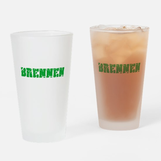 Brennen Name Weathered Green Design Drinking Glass