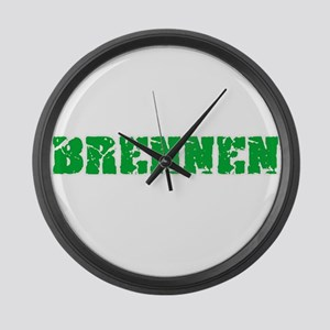 Brennen Name Weathered Green Desi Large Wall Clock