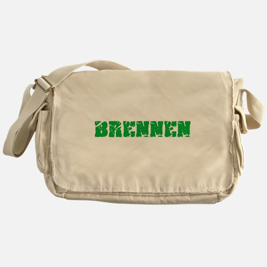 Brennen Name Weathered Green Design Messenger Bag