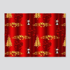 Red and Gold Christmas Decorations 5'x7'Area Rug