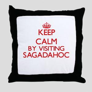 Keep calm by visiting Sagadahoc Maine Throw Pillow
