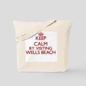 Keep calm by visiting Wells Beach Maine Tote Bag