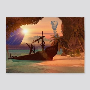 Shipwreck in the sunset 5'x7'Area Rug
