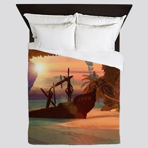Shipwreck in the sunset Queen Duvet