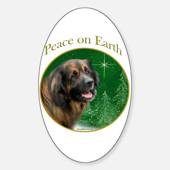 Leonberger Peace Oval Decal