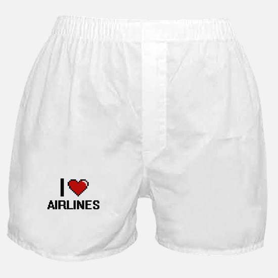 I Love Airlines Digitial Design Boxer Shorts