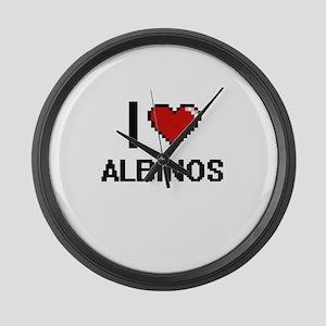 I Love Albinos Digitial Design Large Wall Clock